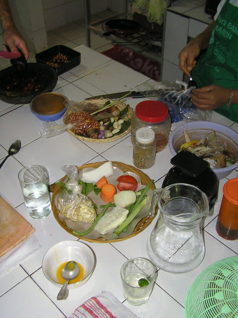 The finished meal from our Balinese cooking class at Warung Bumbu Pemaron