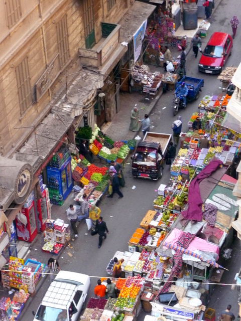 Market in a laneway opposite the Grand Hotel