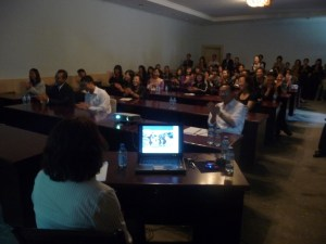 Maria gives her presentation to the guides at Mogao