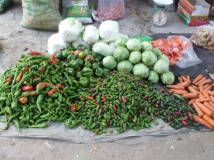 Chiles and other veg in the Dunhuang market