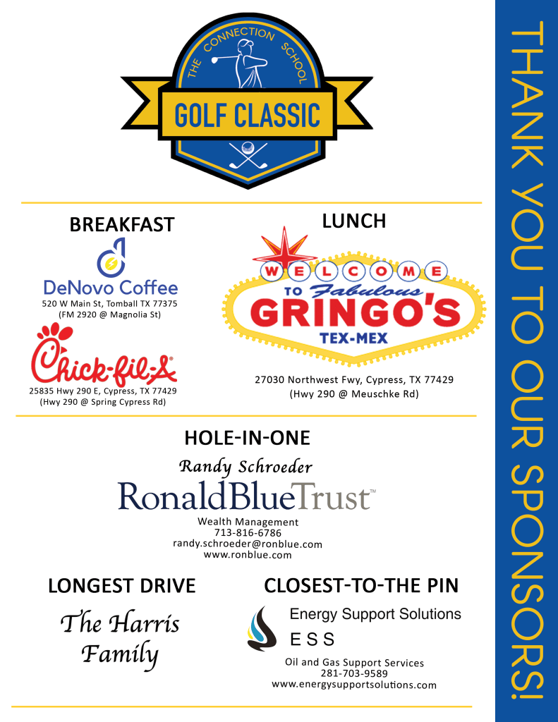 Golf Classic Table Sign Front