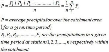 Arithmetic mean method of mean precipitaion calculation