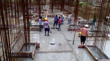 Casting Pedestrals on Raft Foundation