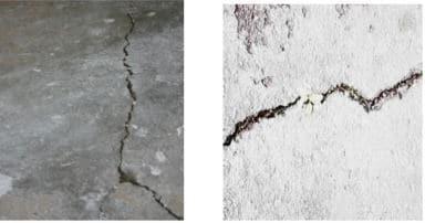 Concrete building cracking due to poor construction practice