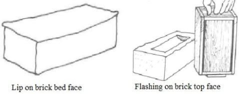 Defects in brick shape, lip on top face