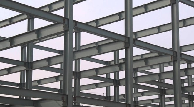Construction of Steel Frame Structure Foundations, Columns, Beams and Floors