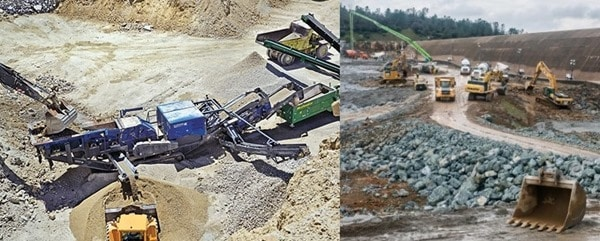 Installation of plants and conveyor and road construction to haul materials