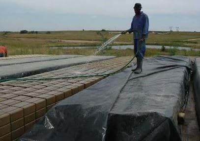 Curing sandcrete block