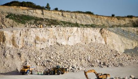 Limestone hauled for cement production