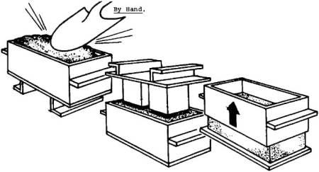 Manual molding of sandcrete block