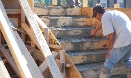 Concrete pouring for stairs