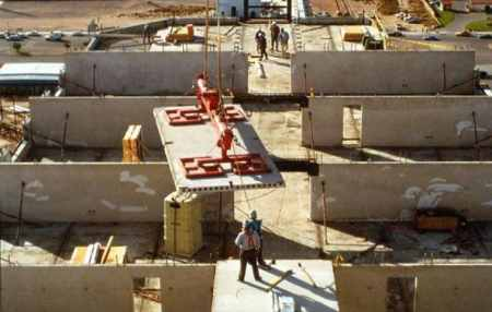 Placement of Hollow Core Precast Concrete Slab on Walls