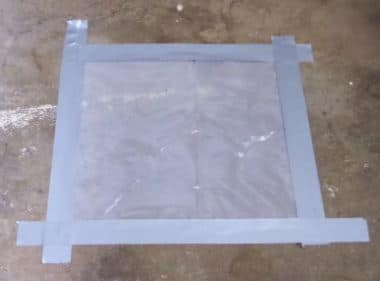 Tape the sheet on the concrete surface