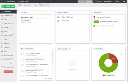 User interface of Orange Scrum software.