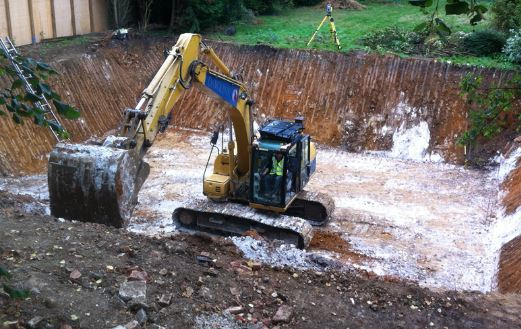 Excavation for Basement Wall Construction