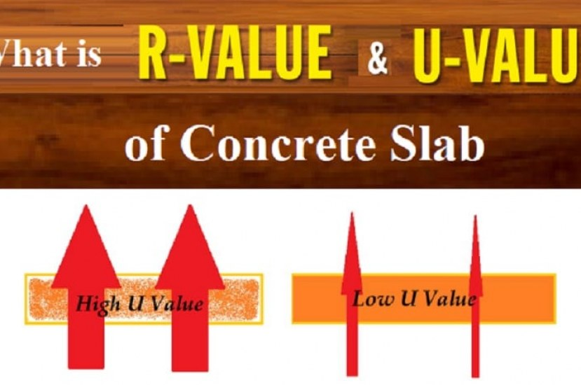 What is R-value and U-value of Concrete Slab per inch, Calculation