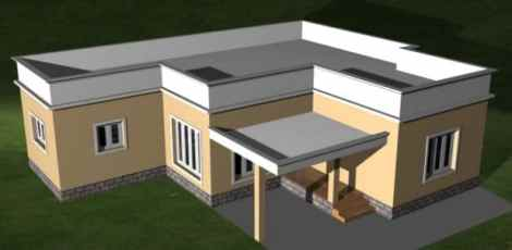 House with Plain Parapet Wall