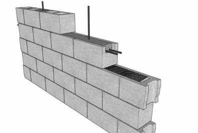 Wall Constructed Using Bond Beam Blocks