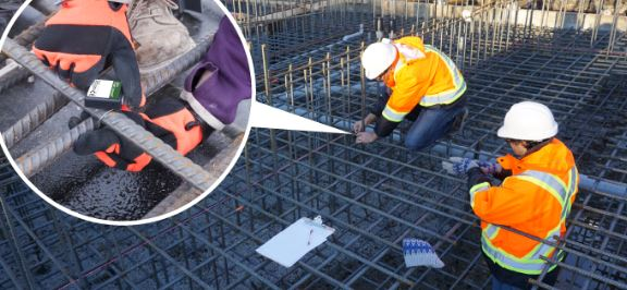 Placement of Temperature and Maturity Data Loggers Positioned in Formwork Prior to Concrete Placement