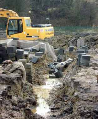 The Construction Site is not Prepared before Delivering Materials, and Concrete Blocks Placed near the Side of Excavation that Caused Collapse of Trench Walls
