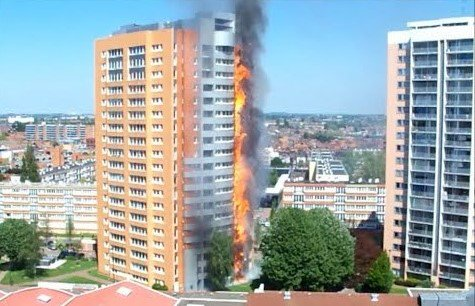 Reduction in the strength and stability of the tall structures due the fire