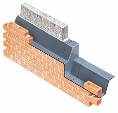 Metal sheets in exterior walls for dampness protection.
