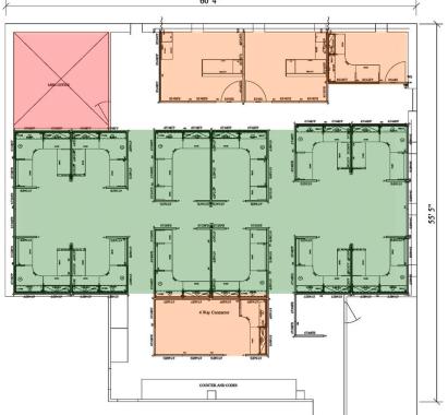 Symmetric layout of building.