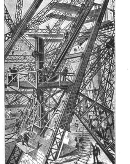 Diagram showing the cranes used during the construction of Eiffel tower