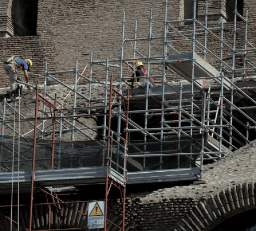 Workers working to restore the Colosseum