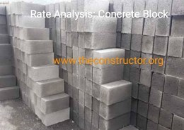 Rate analysis concrete block of size 30cm*20cm*15cm of ratio 1:2:4