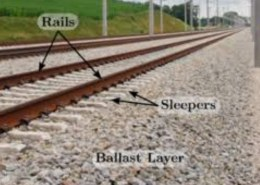 What is the substitute material of ballast at railway track?