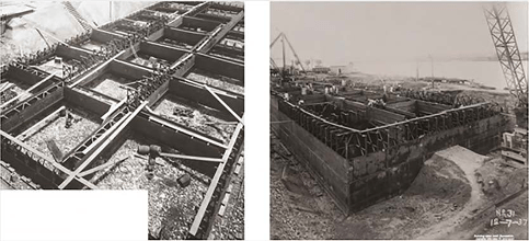 Pictures of Howrah Bridge during construction of foundation