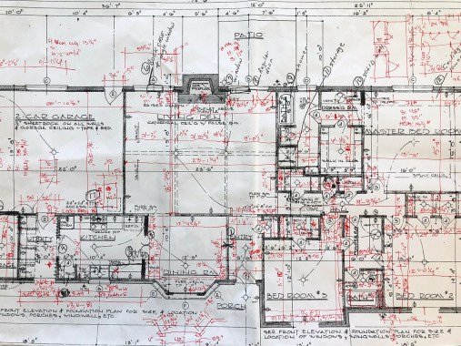 As-Built Drawings Showing Alterations from Original Drawing Using Red Ink