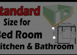 What are the standard dimensions of kitchen, bedroom, drawing room, dining hall, guest's room TV lounge?