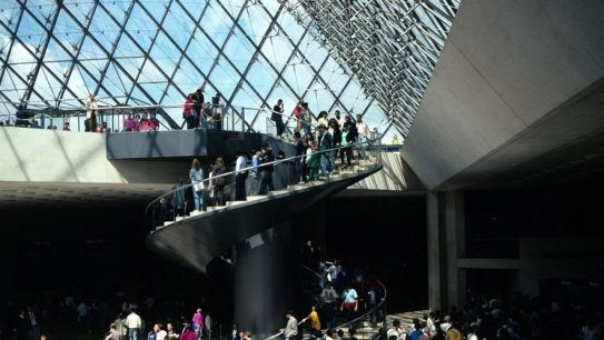View from beneath the Louvre pyramid