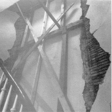 Buildings on the east to Manhattan Hospital project exhibited serious cracking