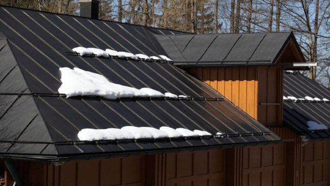 Snow on metal roofs