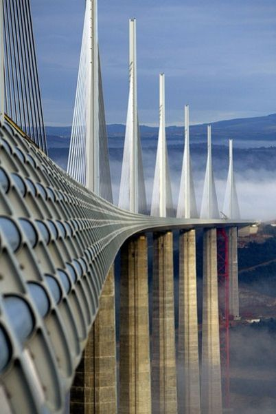 Millau Viaduct constructed to connect northern Europe and eastern Spain