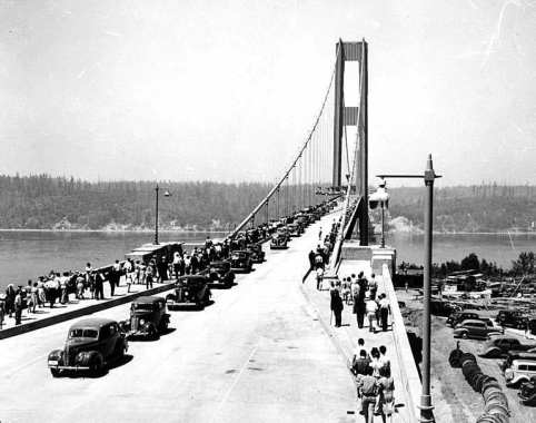 Structure of the Tacoma Narrows Bridge before collapsing