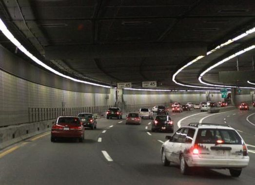 Big Dig tunnel constructed on the route of central artery of interstate highway number 93
