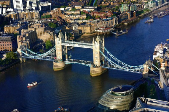 Aerial view of the Tower bridge