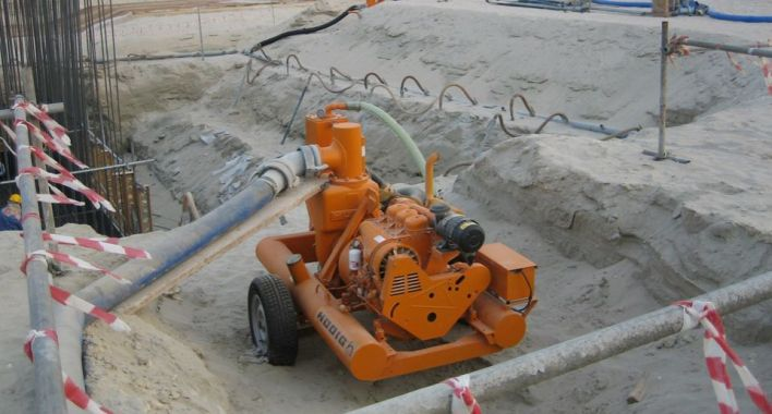 Water pumps for construction sites