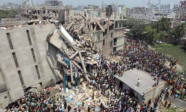 Failure of a building in Bangladesh due to poor-quality concrete