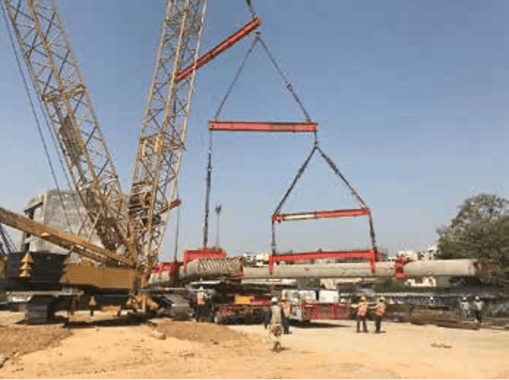 The very large precast HY column units required special handling during lifting process