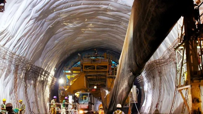 After the application of primary lining, the water-proofing membrane were installed inside the Chenani-Nashri tunnel to reduce the possibility of water ingress