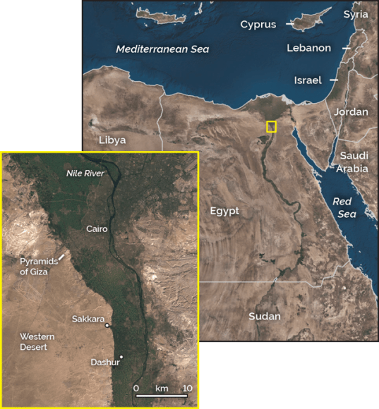 The pyramids of Giza are located on the Giza plateau, connected to Moqattam hill on one side and the other side, the Nile river is crossing.