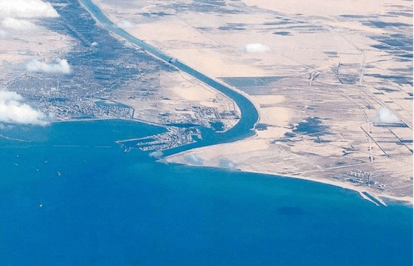 Aerial view of world's biggest economic route of a canal