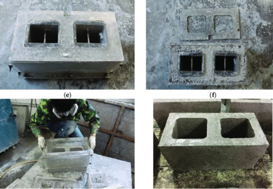 Preparation of alkali-activated slag concrete hollow block (AASCHB) specimens       Image Credits: Research Gate