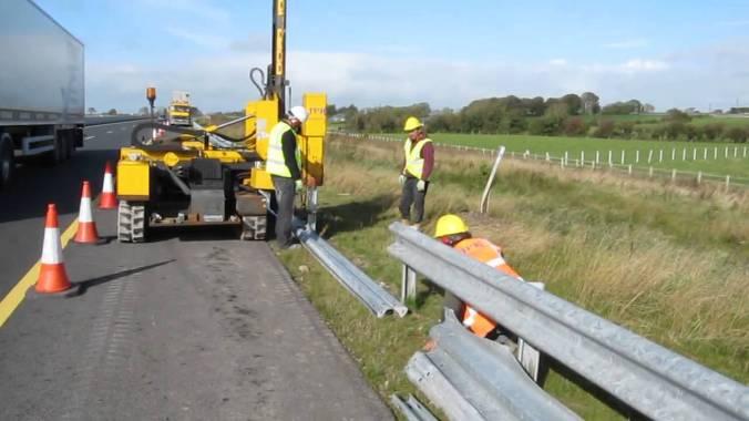 Installation of Metal Beam Crash Barrier