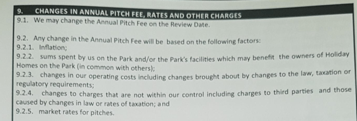 parkdean changes in pitch fees